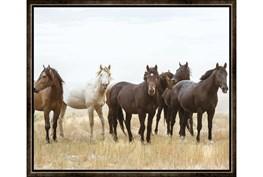 26X22 Wild Horses With Espresso Frame