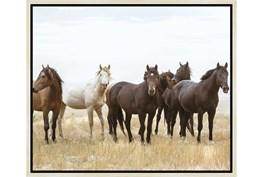 26X22 Wild Horses With Birch Frame