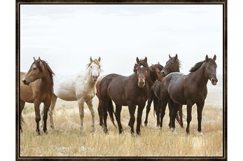 Picture-Wild Horses With Espresso Frame 42X32