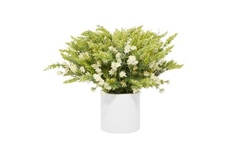 "21"" Artificial White Wild Flowers In White Pot"