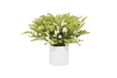 "21"" Artificial White Wild Flowers In White Pot"
