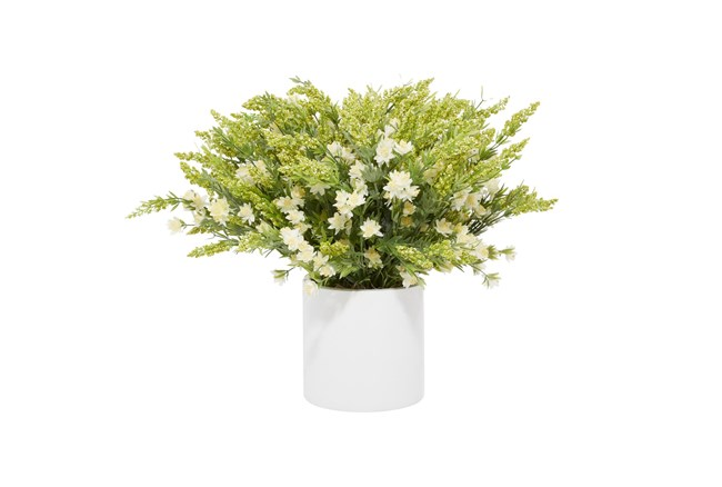 "21"" Artificial White Wild Flowers In White Pot - 360"