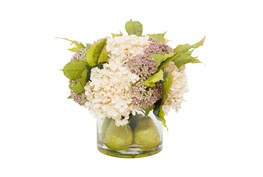 """15"""" Artificial Floral Arrangement In Glass Vase With Water And Pears"""