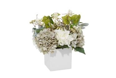 "20"" Artificial Hydrangea Arrangement In White Pot"