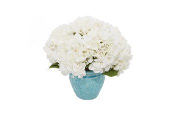 "13"" Artificial White Hydrangea In Teal Ceramic Pot"