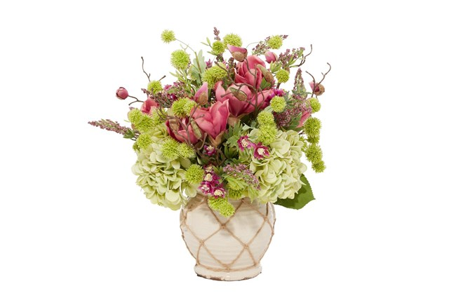 """20"""" Artificial Floral Arrangement In Ceramic Vase - 360"""