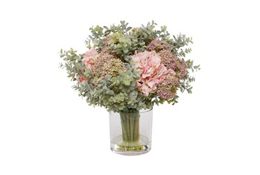 "21"" Artificial Floral Arrangement In Glass Base"