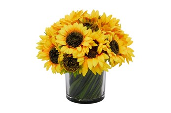 "14"" Artificial Sunflowers In Glass Vase"