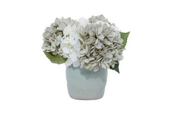 "11"" Teal And White Hydrangeas In Ceramic Vase"