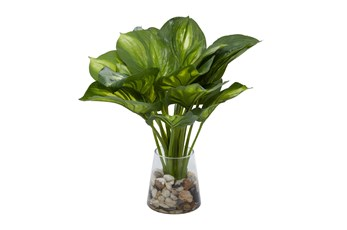"14"" Artificial Hosta Leaves In Glass Vase With Rocks"
