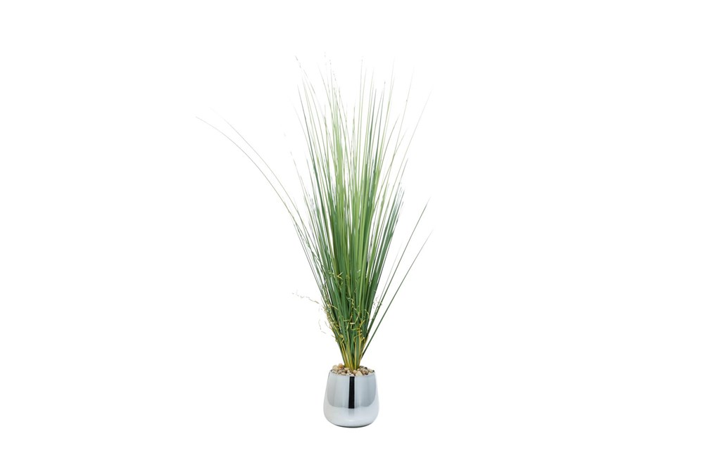 """41"""" Artificial Grass In Silver Pot With Rock Filler"""