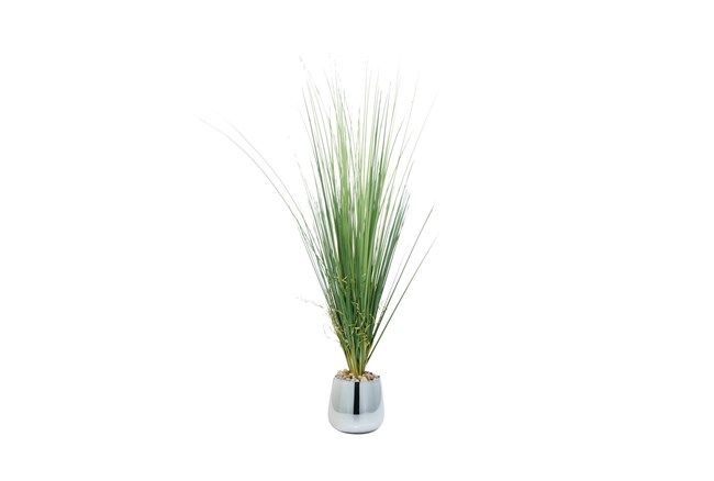 """41"""" Artificial Grass In Silver Pot With Rock Filler - 360"""