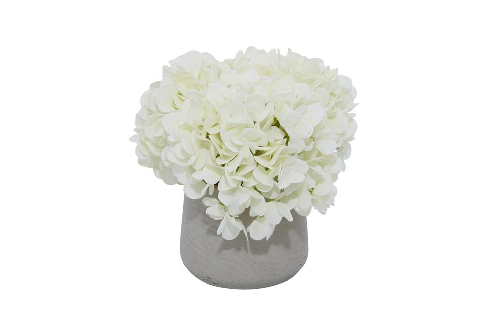 """10"""" Artificial White Hydrangea In Grey Ceramic Pot"""