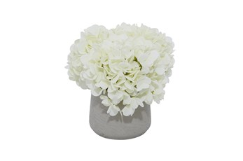 "10"" Artificial White Hydrangea In Grey Ceramic Pot"