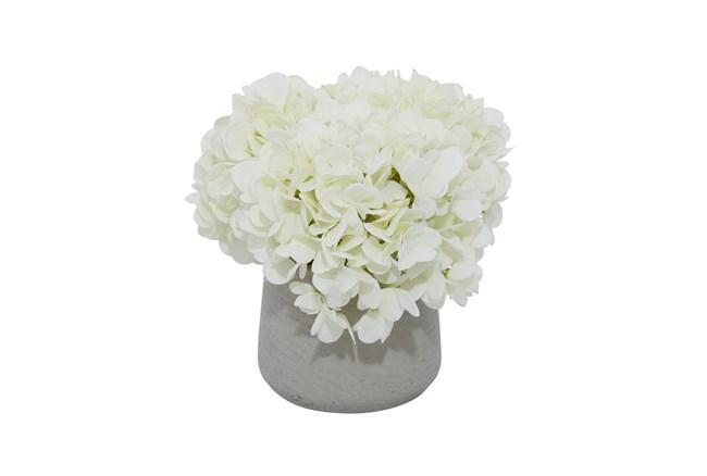 """10"""" Artificial White Hydrangea In Grey Ceramic Pot - 360"""