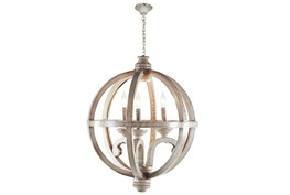 "21X28"" Wood Globe Chandelier"