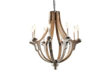 """25X28"""" Brown Wood Empire Candle Chandelier"""