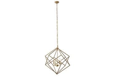 "25X30"" Gold Iron Geometric Chandelier"
