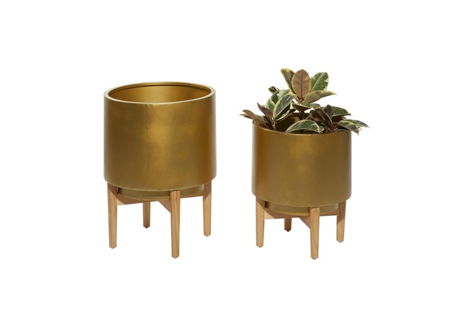 Gold Iron Planter Set Of 2 - 360