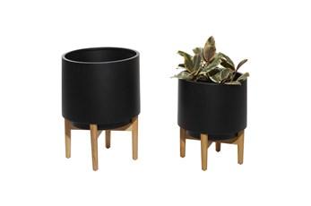 Black Iron Planter Set Of 2