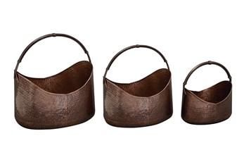 Copper Iron Planter Set Of 3
