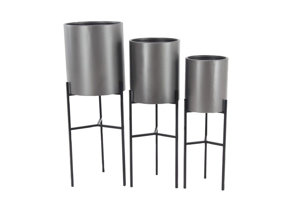 Silver Iron Planter Set Of 3