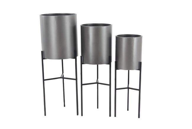 Silver Iron Planter Set Of 3 - 360