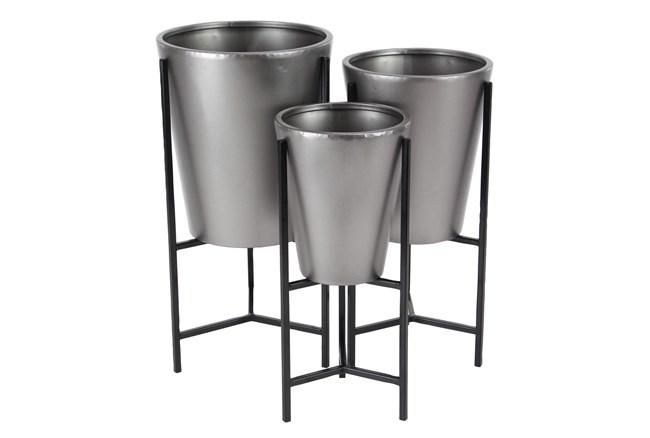Grey Iron Planter Set Of 3 - 360
