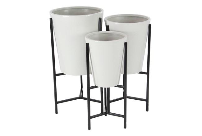 White Tin Planter Set Of 3 - 360