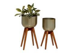 Gold Metal + Wood Planter Set Of 2