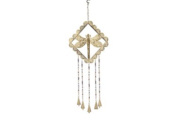 30 Inch Gold Iron Dragonfly Windchime