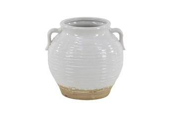 10 Inch White Stoneware Planter