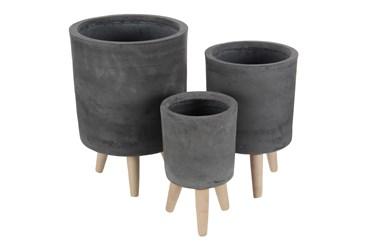 Black Ceramic Planter Set Of 3