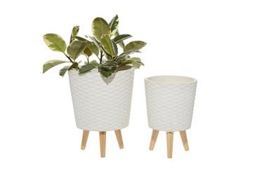 White Wood Planter Set Of 2