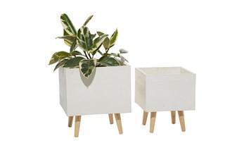 White Ceramic Planter Set Of 2