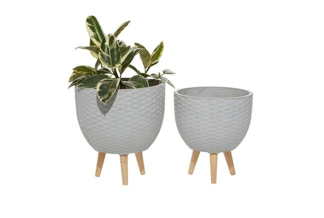 Grey Ceramic Planter Set Of 2 - 360