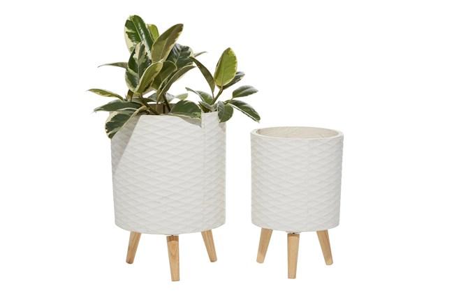 White Ceramic Planter Set Of 2 - 360