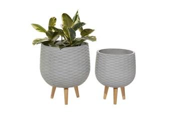 Light Grey Ceramic Planter Set Of 2