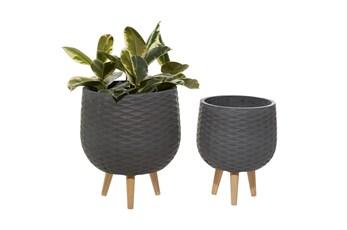 Grey Modern Ceramic Hanging Planter Set Of 2