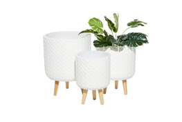 White Wood Planter Set Of 3