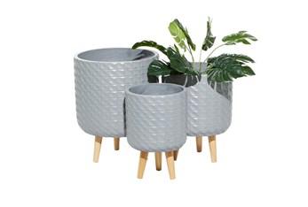 Grey Modern Wood Planter Set Of 3