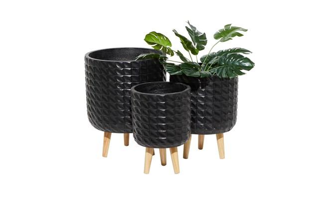 Black Wood Planter Set Of 3 - 360