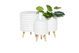 3 Leg White Wood Planter Set Of 3