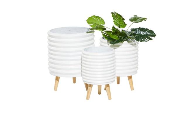 3 Leg White Wood Planter Set Of 3 - 360
