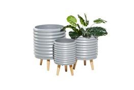 3 Leg Grey Wood Planter Set Of 3