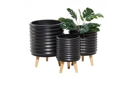 3 Leg Black Wood Planter Set Of 3
