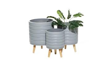 Grey Wood Planter Set Of 3