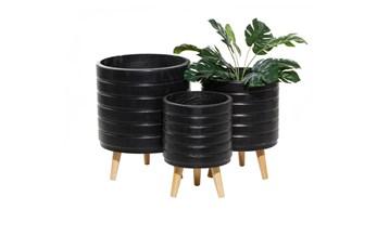 Black Wood Planter Set Of 3