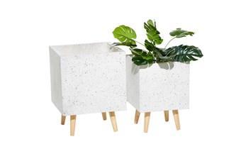 Square White Wood Planter Set Of 2