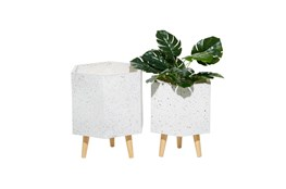 White Wood Planter Set Of 2